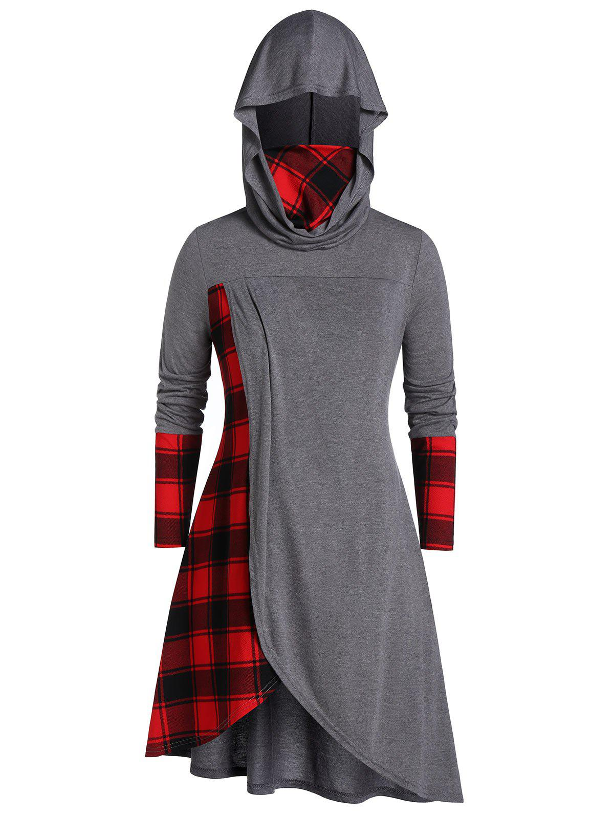 Plus Size Asymmetrical Hooded Plaid Tunic T-shirt - GRAY 1X