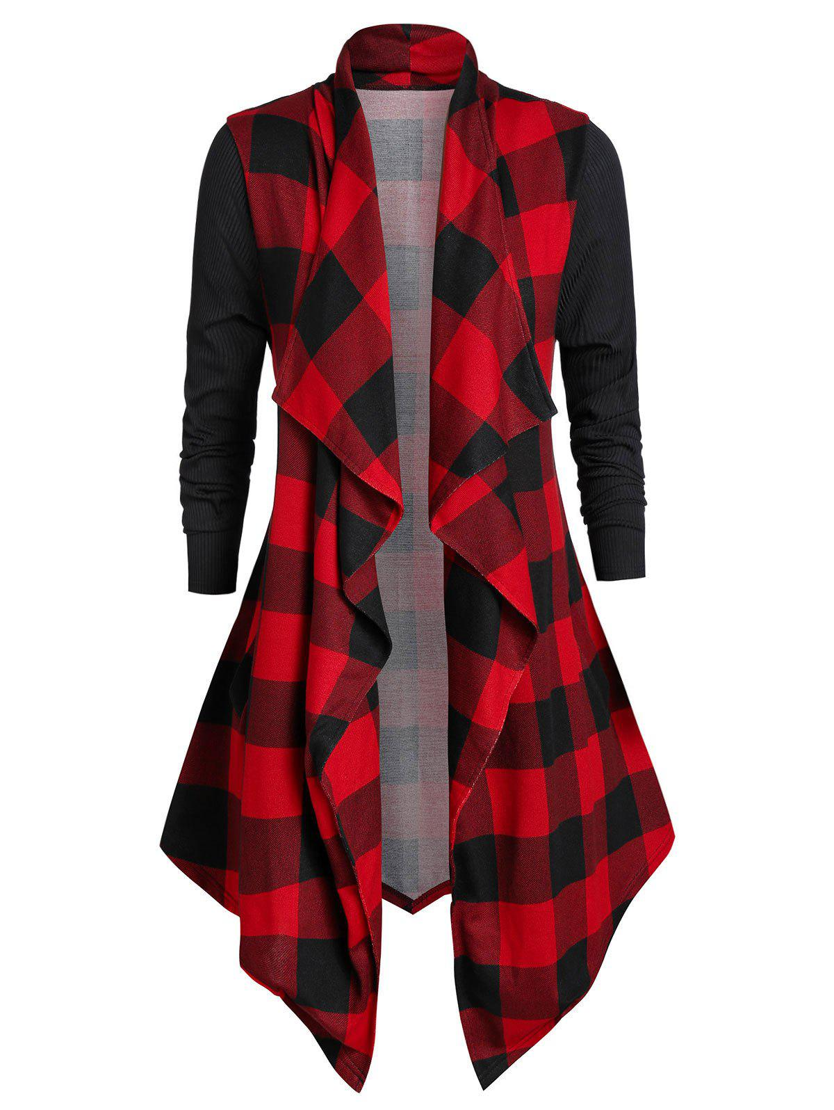 Plus Size Plaid Open Front Draped Cardigan - RED 4X