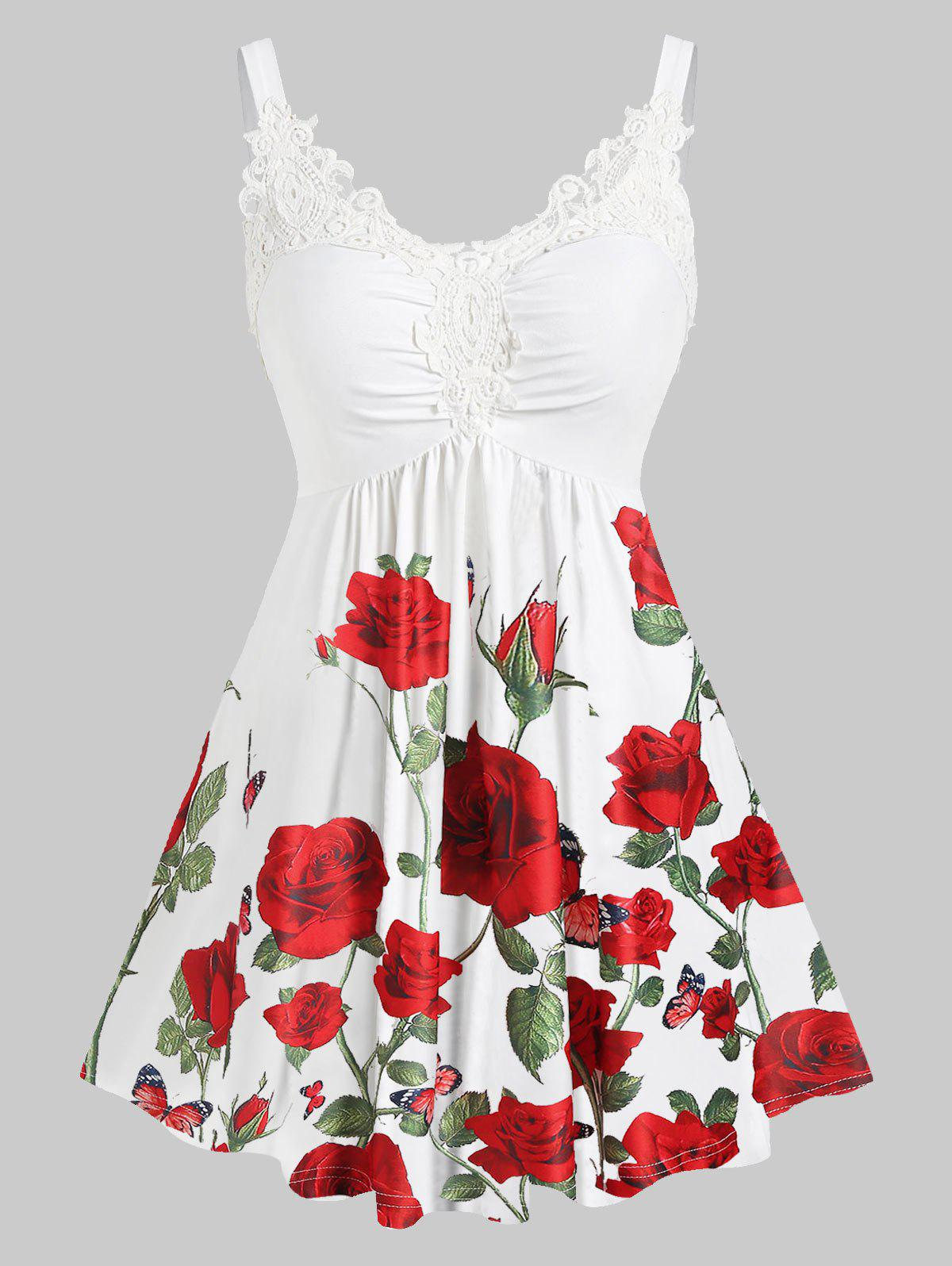 Plus Size Ditsy Print Sweetheart Collar Lace Panel Tank Top - RED 2X