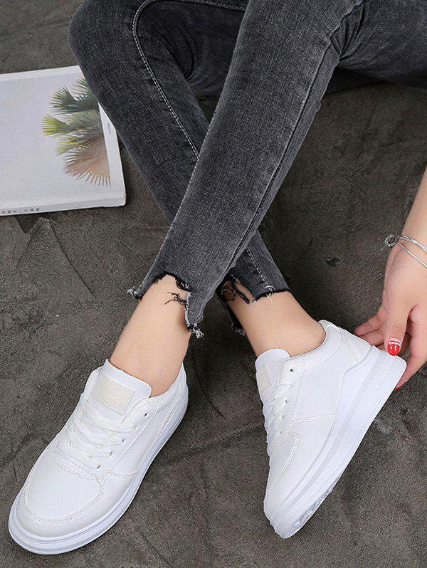 Contrast Trim PU Leather Skate Shoes - WHITE EU 39