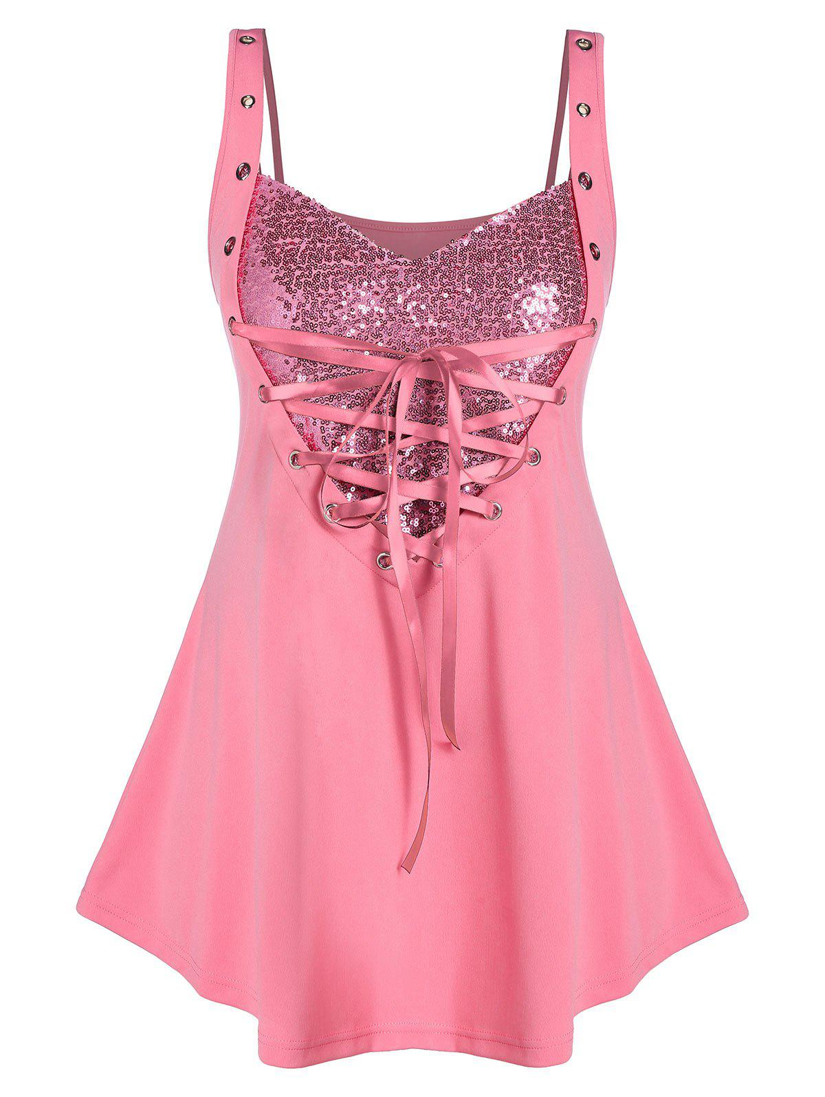 Plus Size Sweetheart Neck Glitter Rings Tank Top - PIG PINK L
