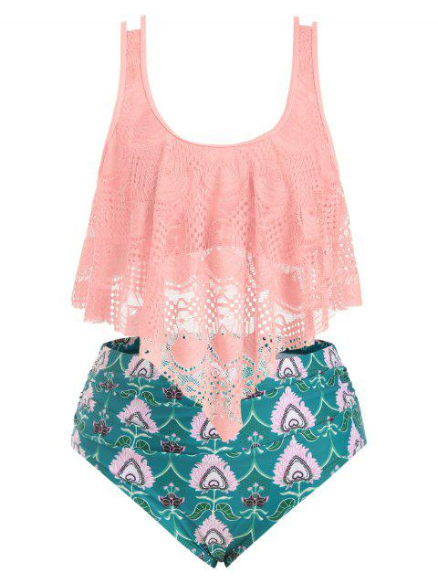 Plus Size Lace Overlay Printed Tankini Swimsuit - PINK 3X