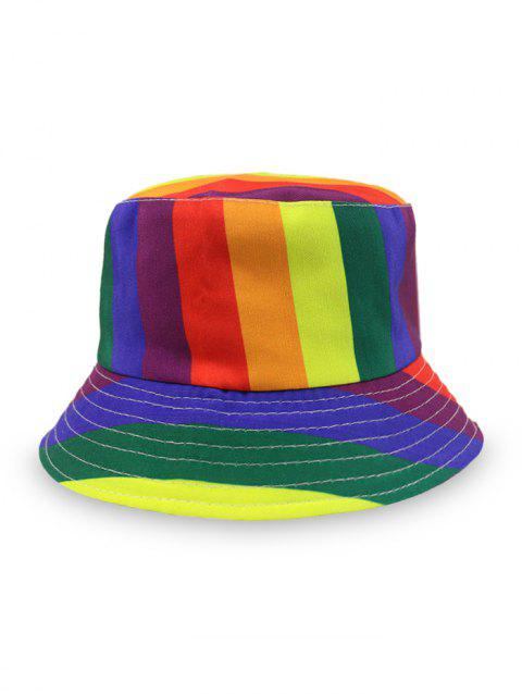 Double Sides Rainbow Striped Geometric Bucket Hat - YELLOW
