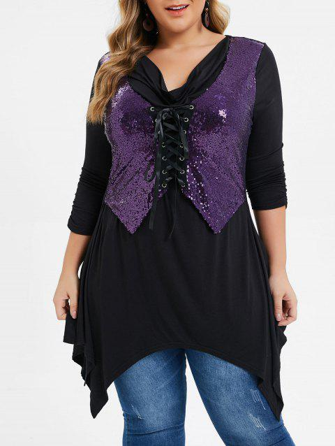 Plus Size Lace Up Sequined Asymmetrical Tunic Tee - BLACK L