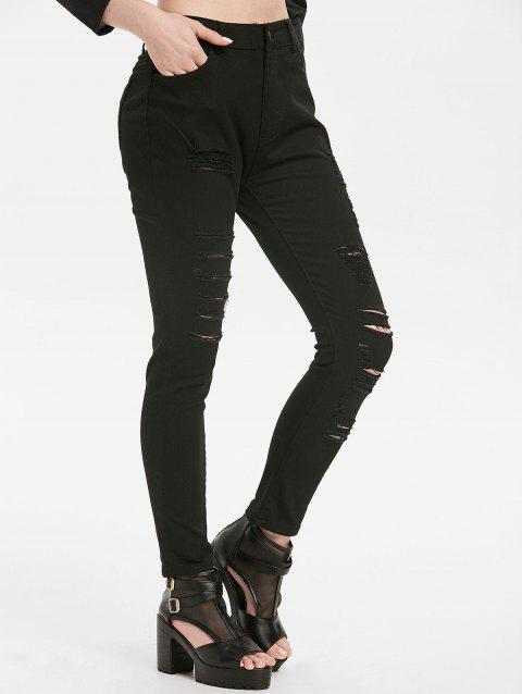 Zipper Fly Ripped Skinny Jeans - BLACK XL