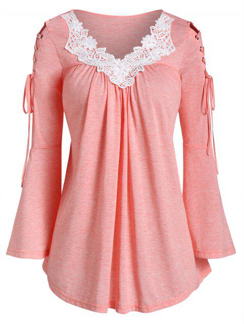 Flare Sleeve Contrast Lace Lace Up T-shirt - PINK M