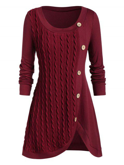 Plus Size Buttoned Front Slit Cable Knit Sweater - RED WINE 1X