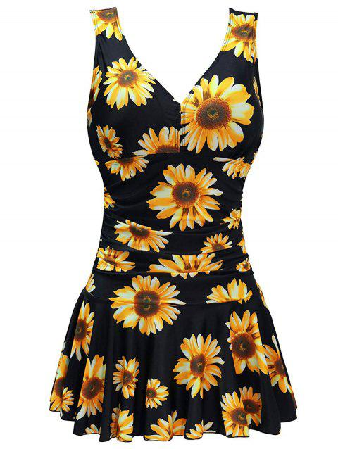 Random Sunflower Print Ruched Plus Size One-piece Swimsuit