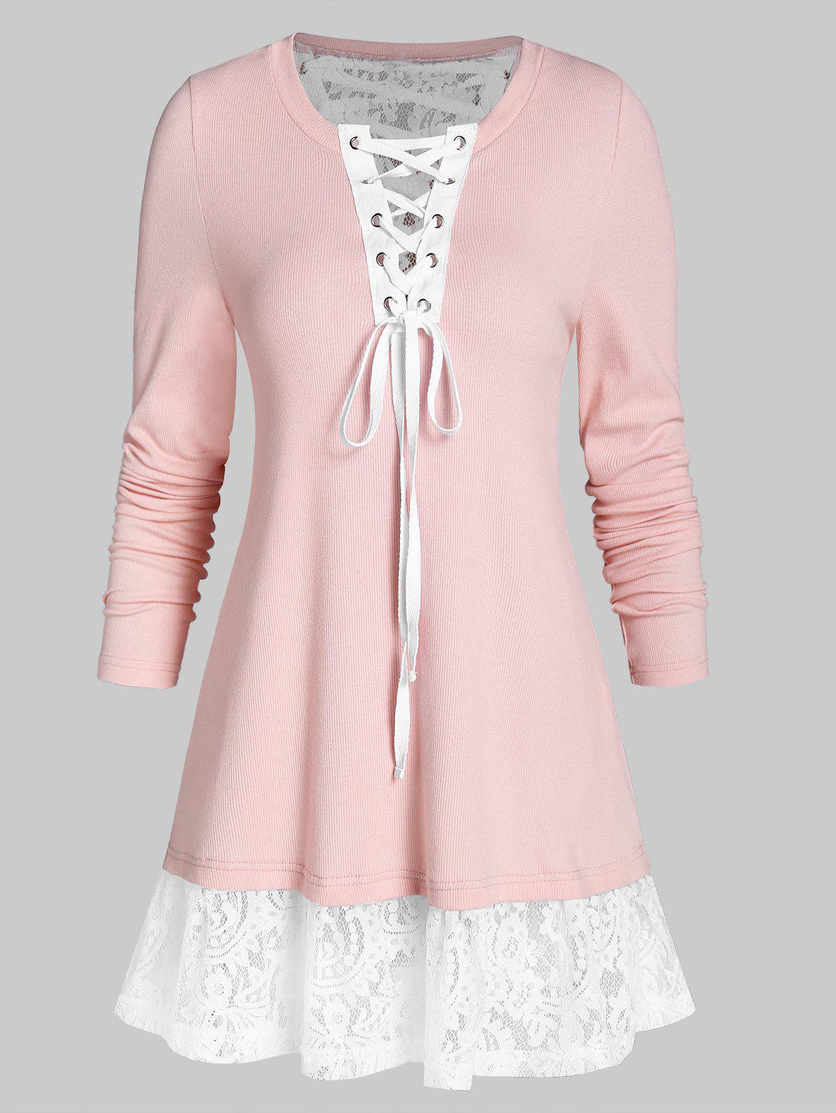 Lace Up Tunic Long Sleeve T Shirt - ROSE L