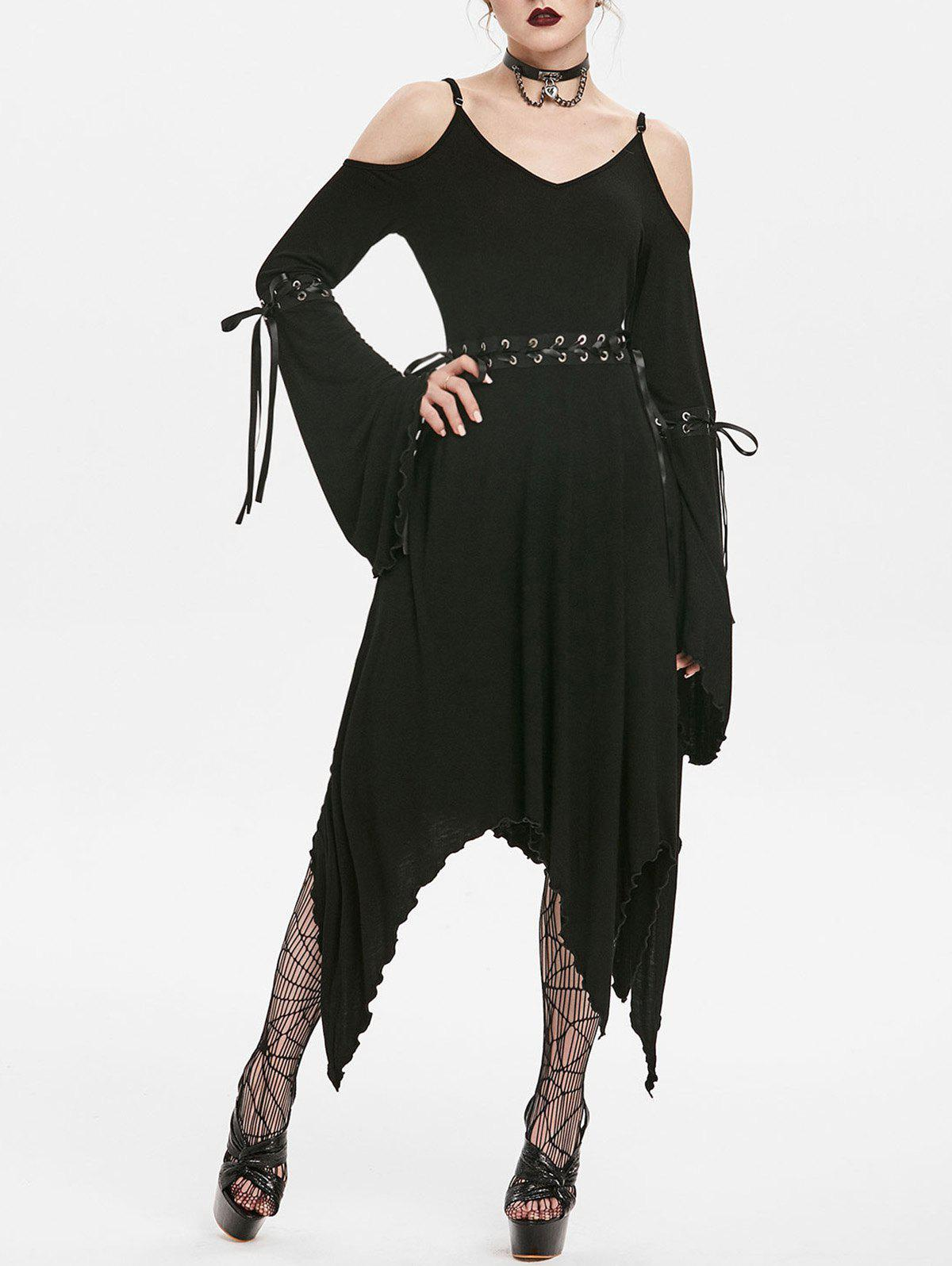 Gothic Lace Up Bell Sleeve Asymmetrical Dress - BLACK S