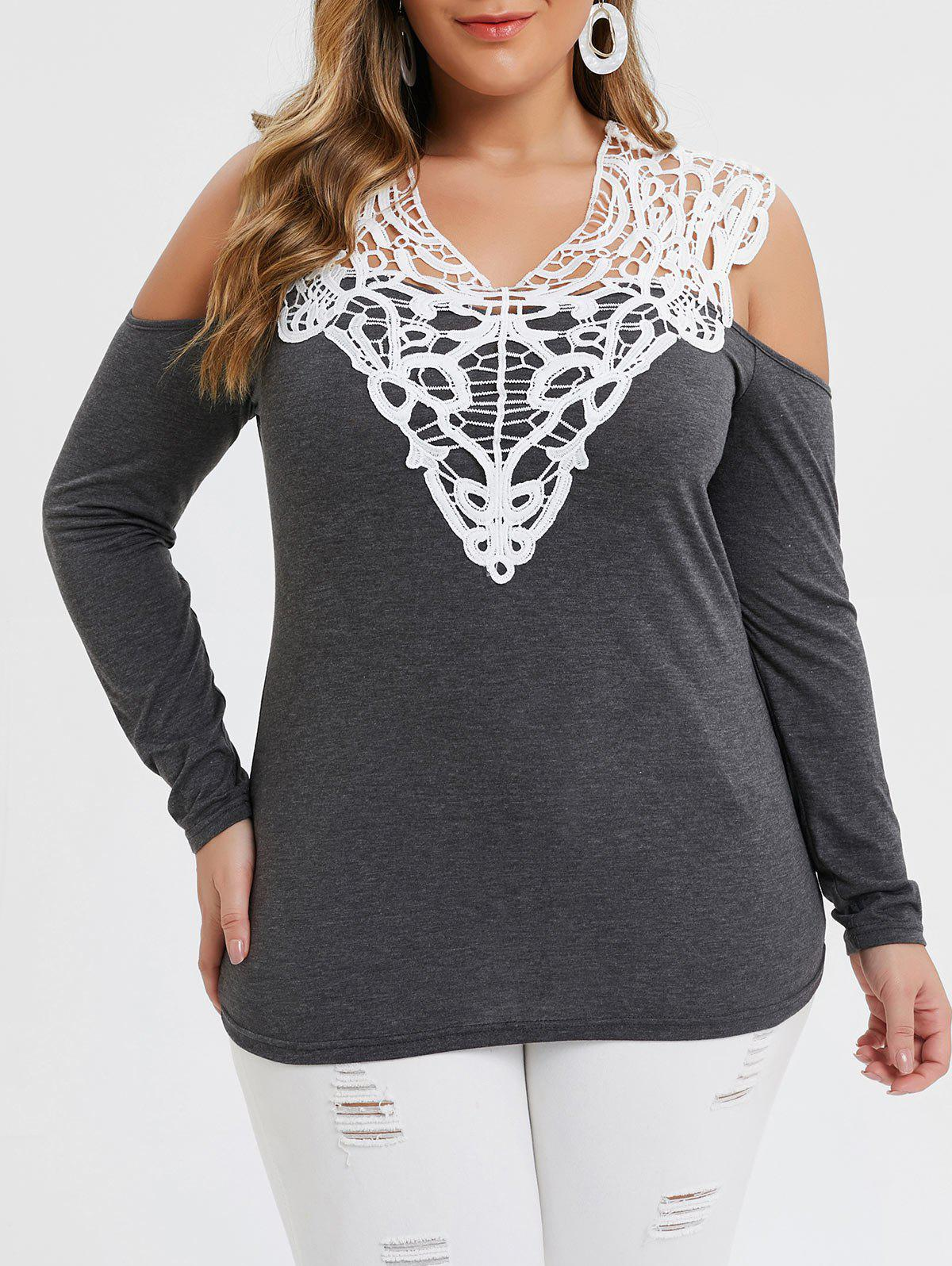 Plus Size Lace Insert Cold Shoulder Heather T-shirt - GRAY 2X