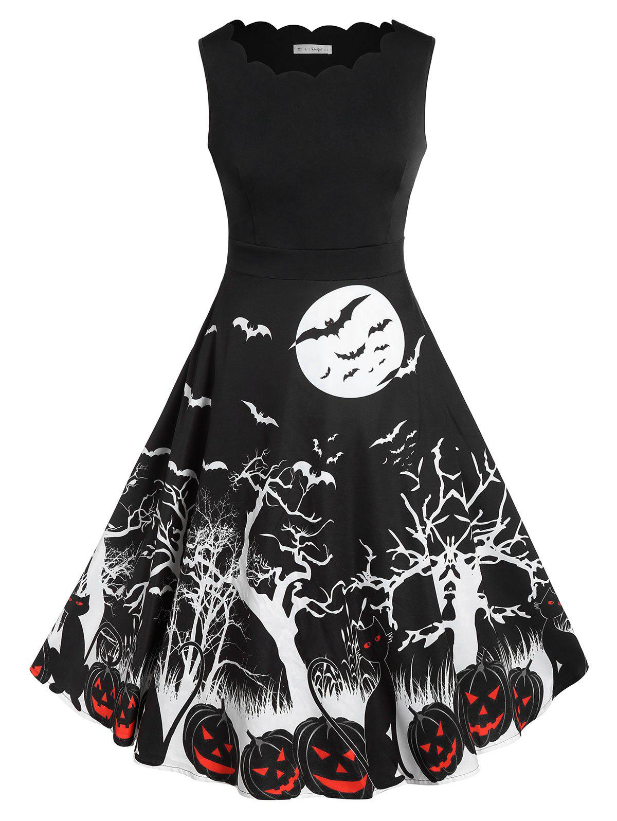 Plus Size Bat Pumpkin Print Halloween Vintage Dress - BLACK L