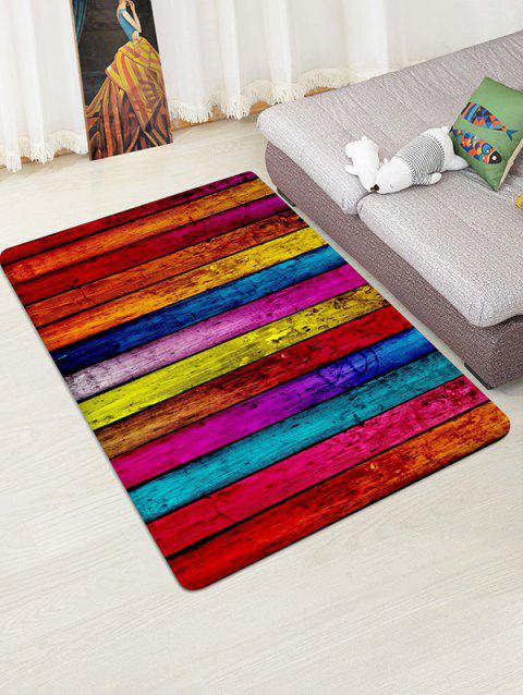 Colorful Plank Pattern Print Flannel Floor Mat - ROSE RED W47 X L63 INCH