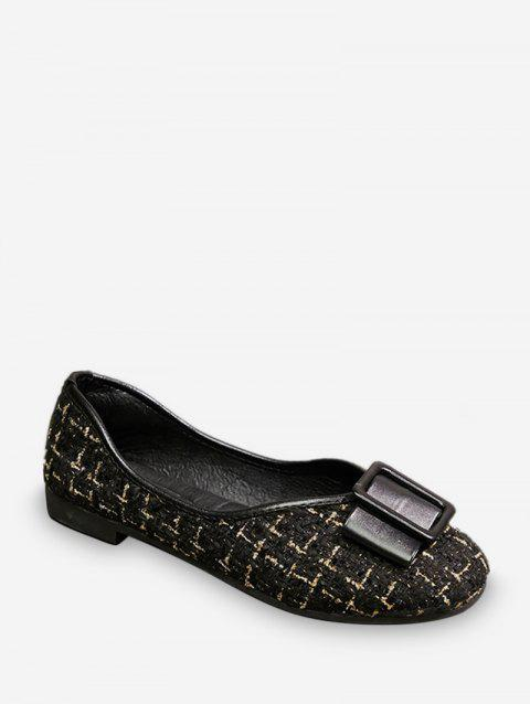 Bow Tweed Round Toe Slip On Flats - BLACK EU 40