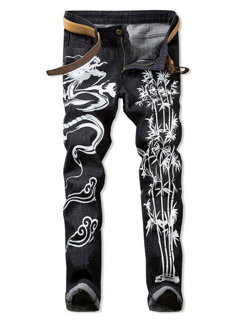 Dragon Print Zipper Fly Casual Jeans - GRAPHITE BLACK 42