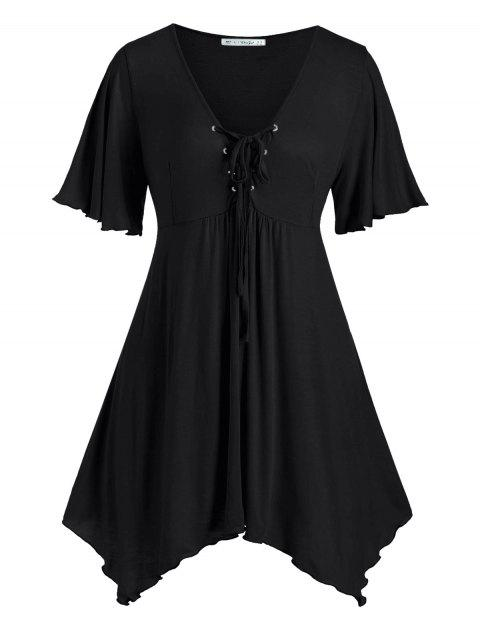 Lace Up Handkerchief Skirted Plus Size Top - BLACK 2X