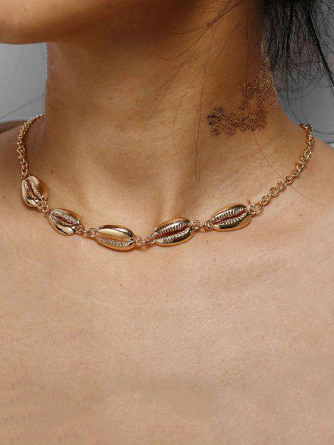 Shell Collarbone Chain Necklace - GOLD