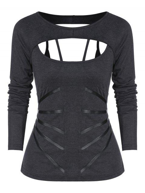 Long Sleeve Cut Out Lace-up Gothic T-shirt - DARK SLATE GREY L