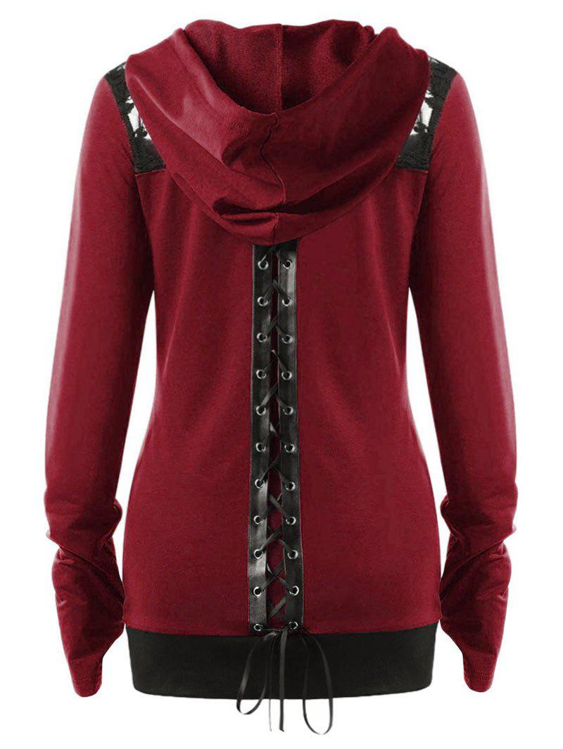 Plus Size Lace Up Contrast Trim Zip Up Hoodie - RED WINE 5X
