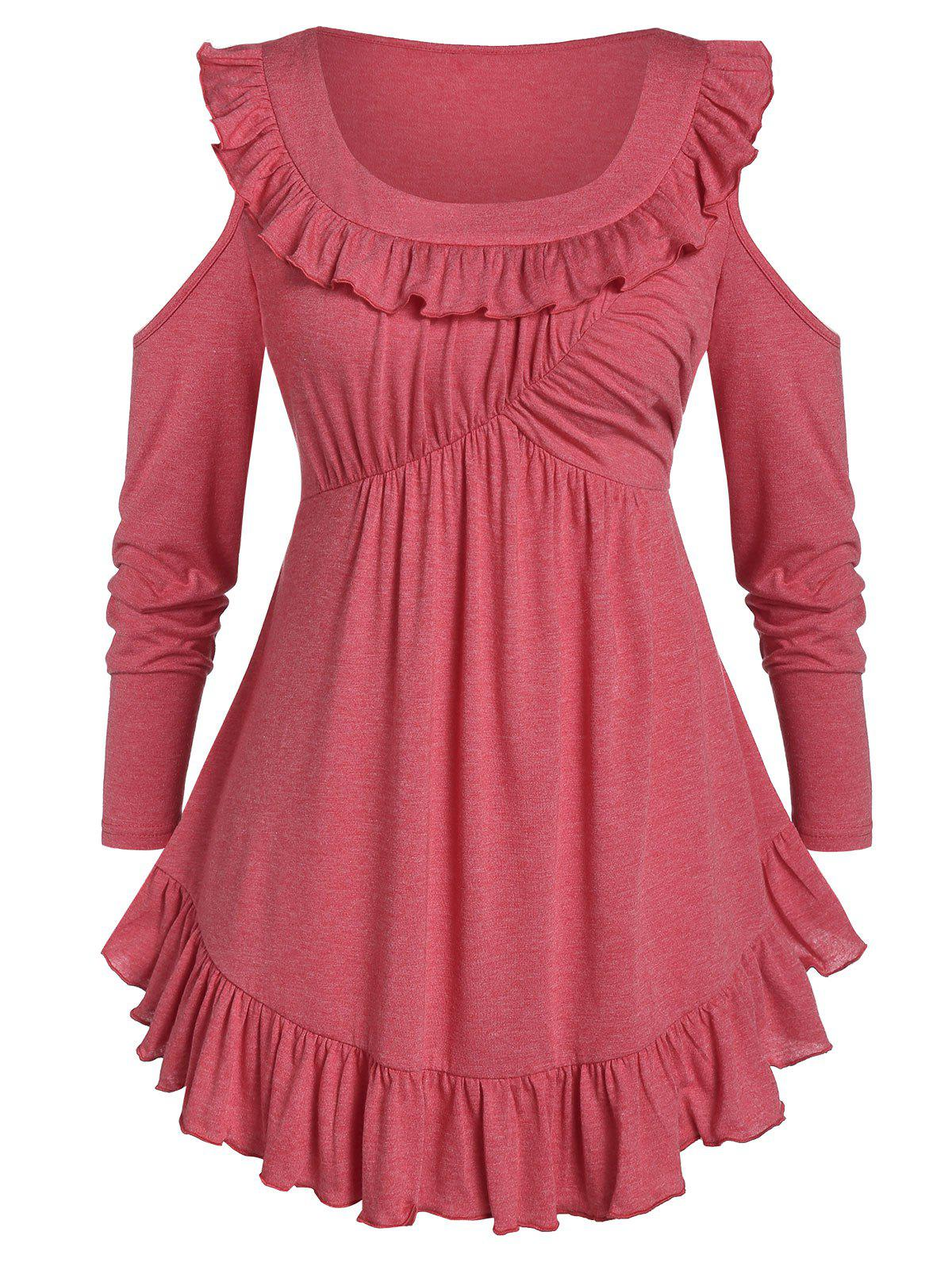 Plus Size Cold Shoulder Marled Tunic T Shirt