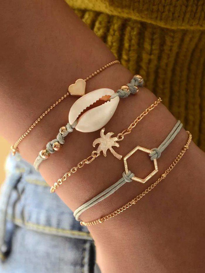 Five-piece Heart Shell Palm Tree Chain Bracelet Sets - GOLD