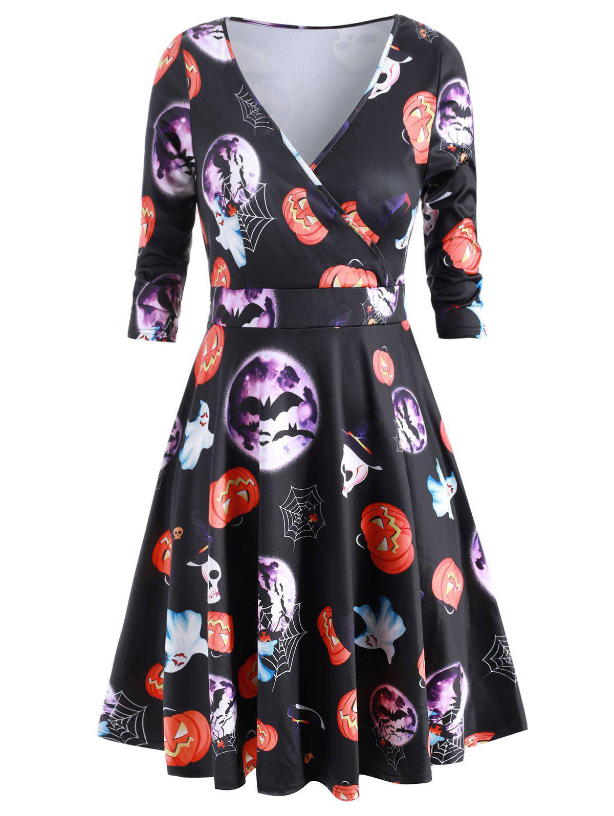 Plus Size Halloween Moon Bat Print V Neck Dress