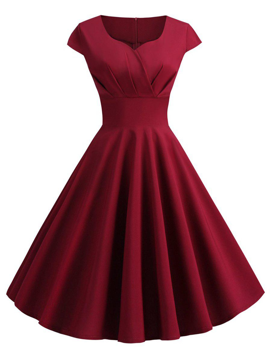 Plus Size Vintage Pin Up Dress - RED WINE 3X