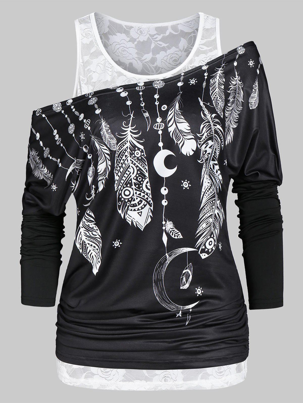 Printed Skew Collar T Shirt with Lace Tank Top - BLACK 2XL