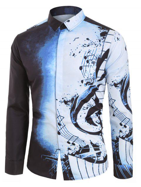 Musical Note Pattern Casual Long Sleeves Shirt - MIST BLUE L