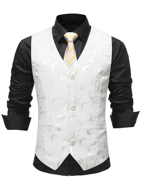 Single-breasted Embossed Decoration Waistcoat - WHITE L