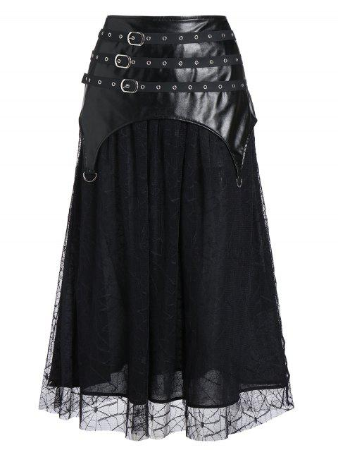 Faux Leather Insert Spider Web Lace Gothic Skirt - BLACK L