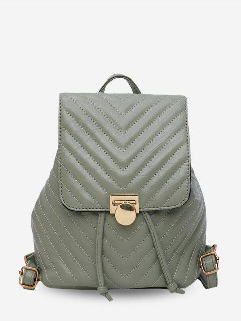 Chevron Quilted Drawstring PU Leather Backpack - DARK SEA GREEN