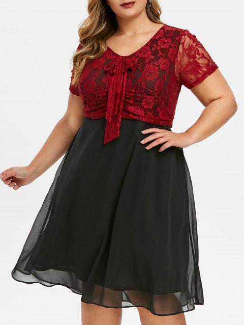 Lace Panel Bowknot Plus Size Semi Formal Dress - BLACK 5X