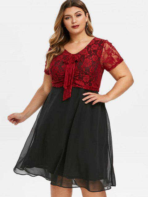 Lace Panel Bowknot Plus Size Semi Formal Dress