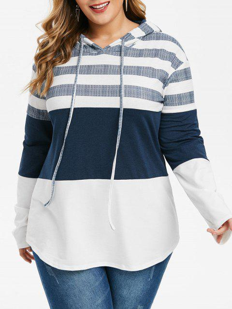 Color Block Stripes Curved Hem Plus Size Hoodie - WHITE 1X