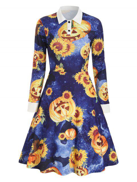Halloween Sunflower Pumpkin Print Long Sleeve Dress - MIDNIGHT BLUE XL