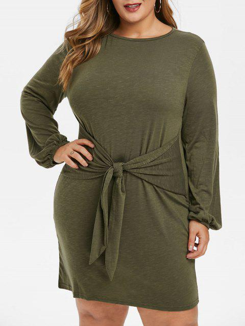 Plus Size Space Dye Print Long Sleeve Knot Front Dress - CAMOUFLAGE GREEN 1X
