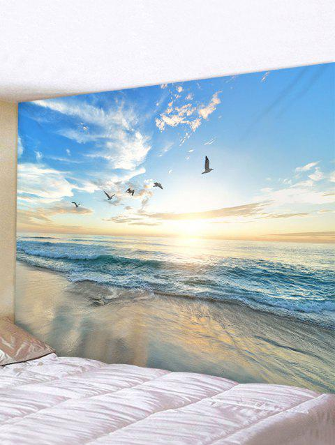 Sunrise Seaside Birds Print Tapestry Wall Hanging Art Decoration - multicolor W71 X L71 INCH