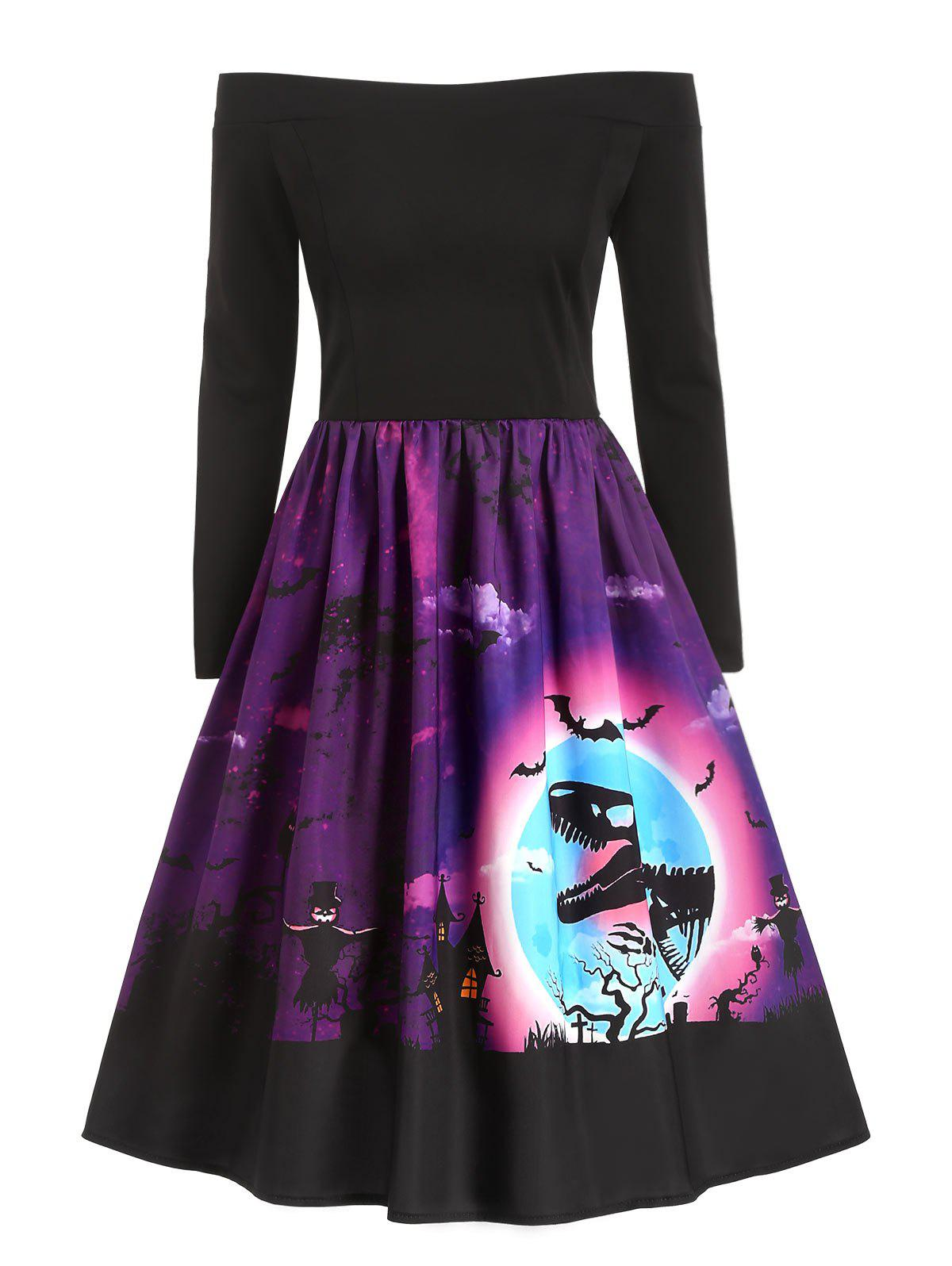 Halloween Dinosaur Owl Print Off Shoulder Dress - DARK ORCHID 2XL