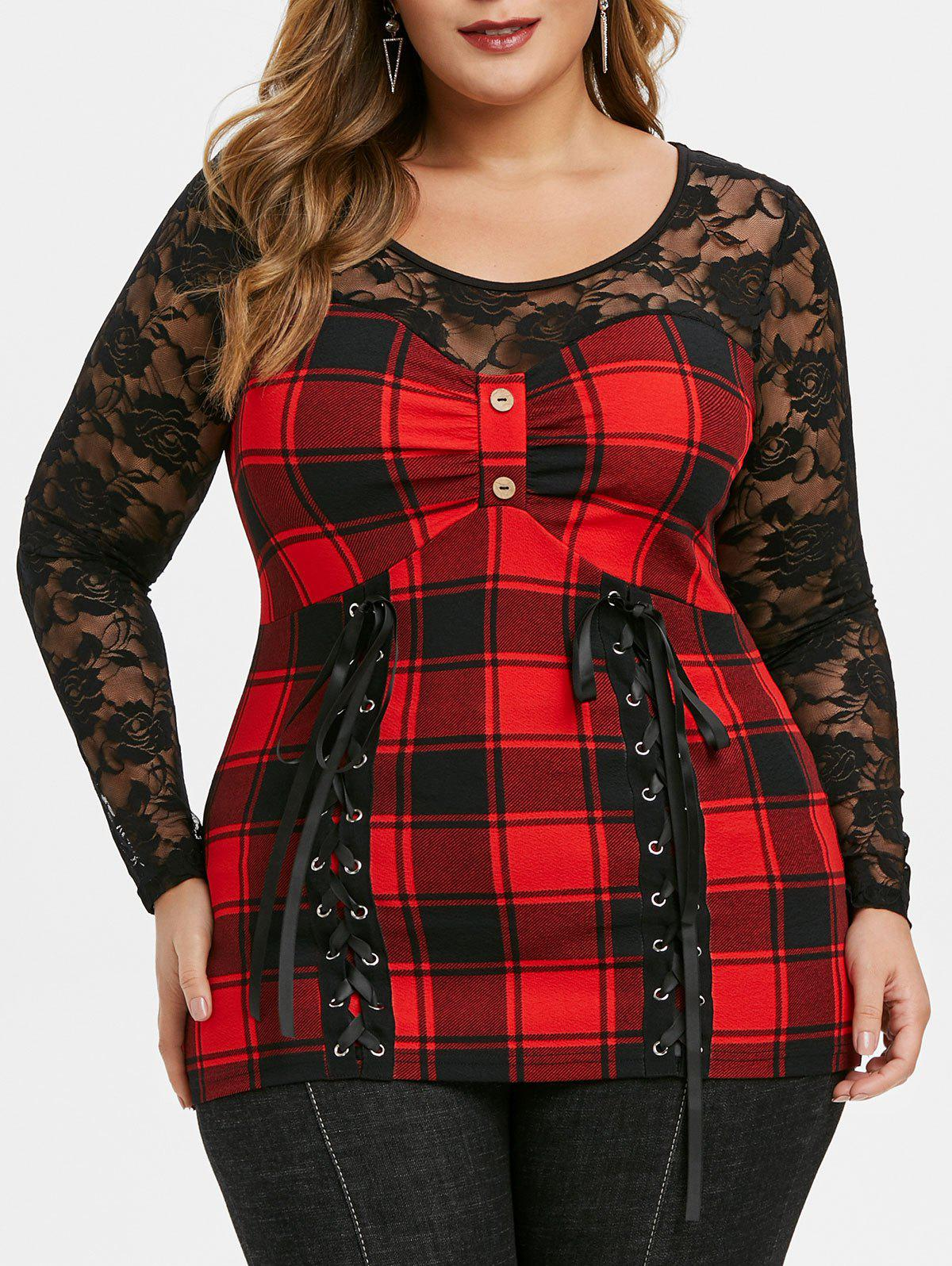 Plus Size See Thru Plaid Panel Lace Up T Shirt - LAVA RED 5X