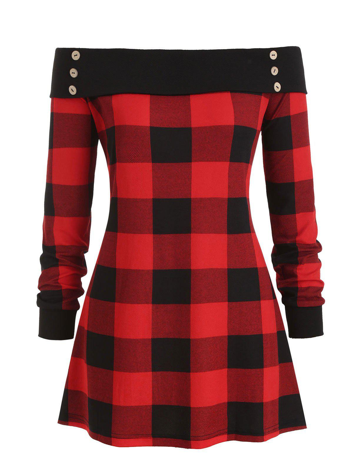 Buttoned Off Shoulder Plaid Plus Size Top