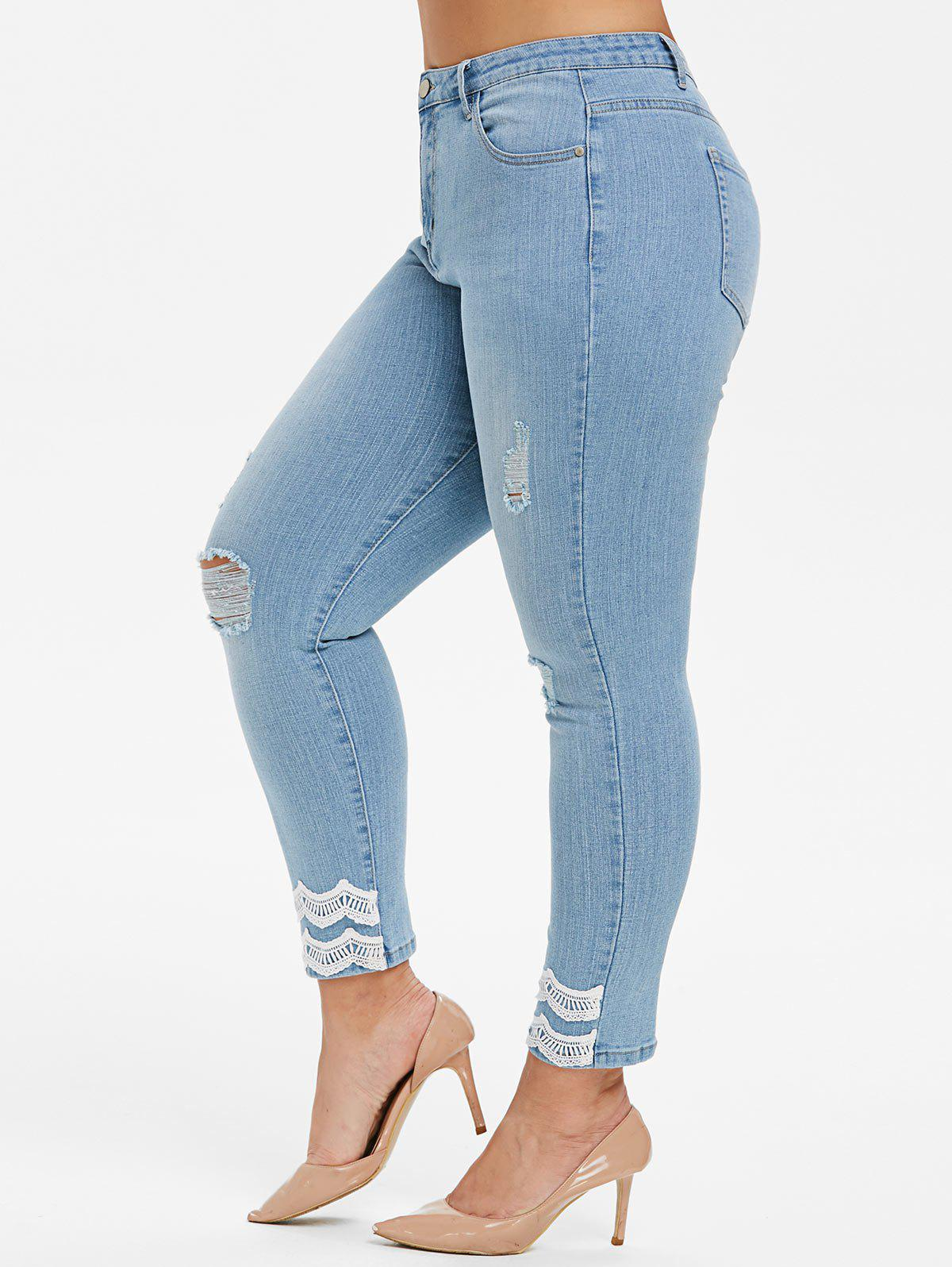 Plus Size High Rise Ripped Lace Crochet Skinny Jeans - JEANS BLUE 1X