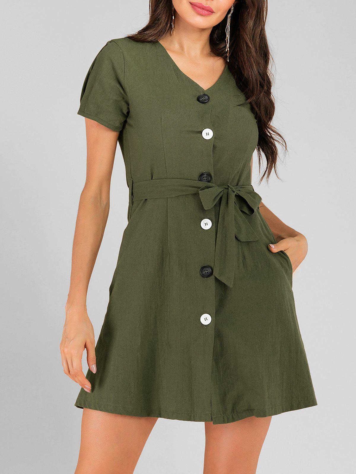 Button Fly Belted Pocket Short Casual Dress - ARMY GREEN XL