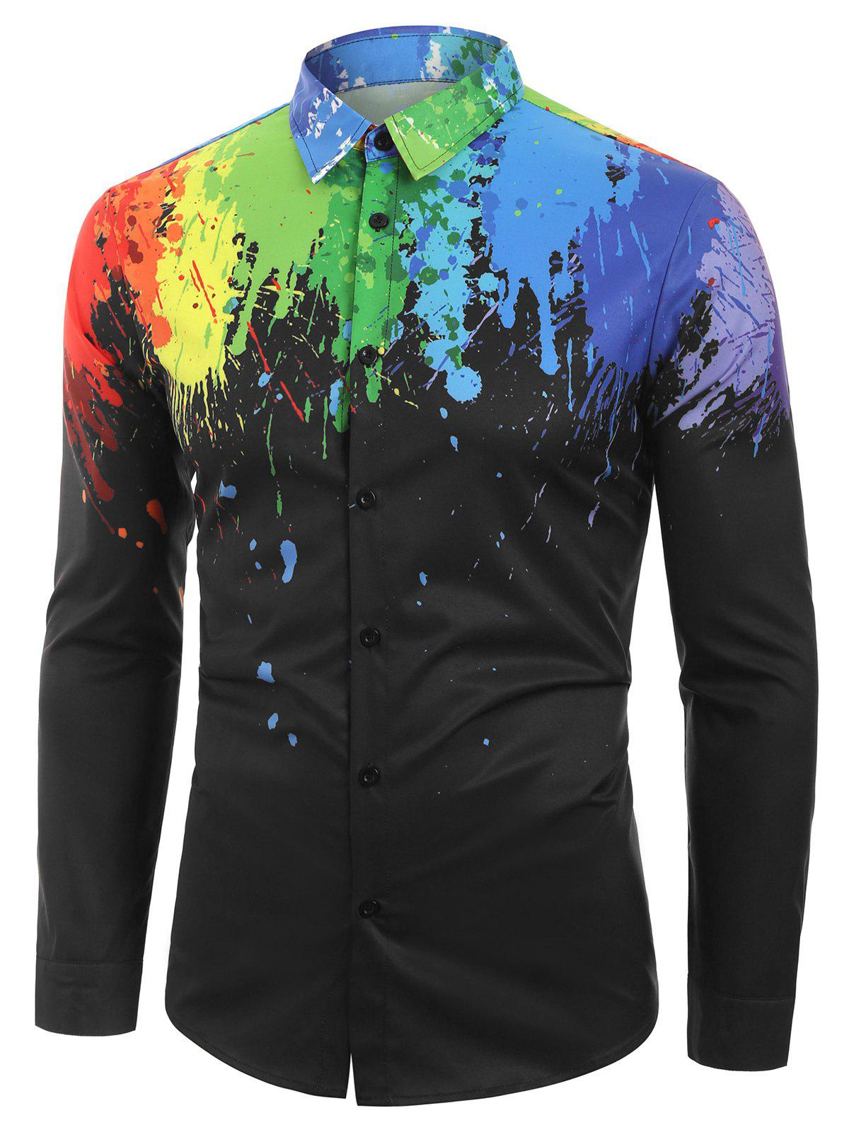 Long Sleeves Splatter Painting Print Button Shirt - BLACK XL
