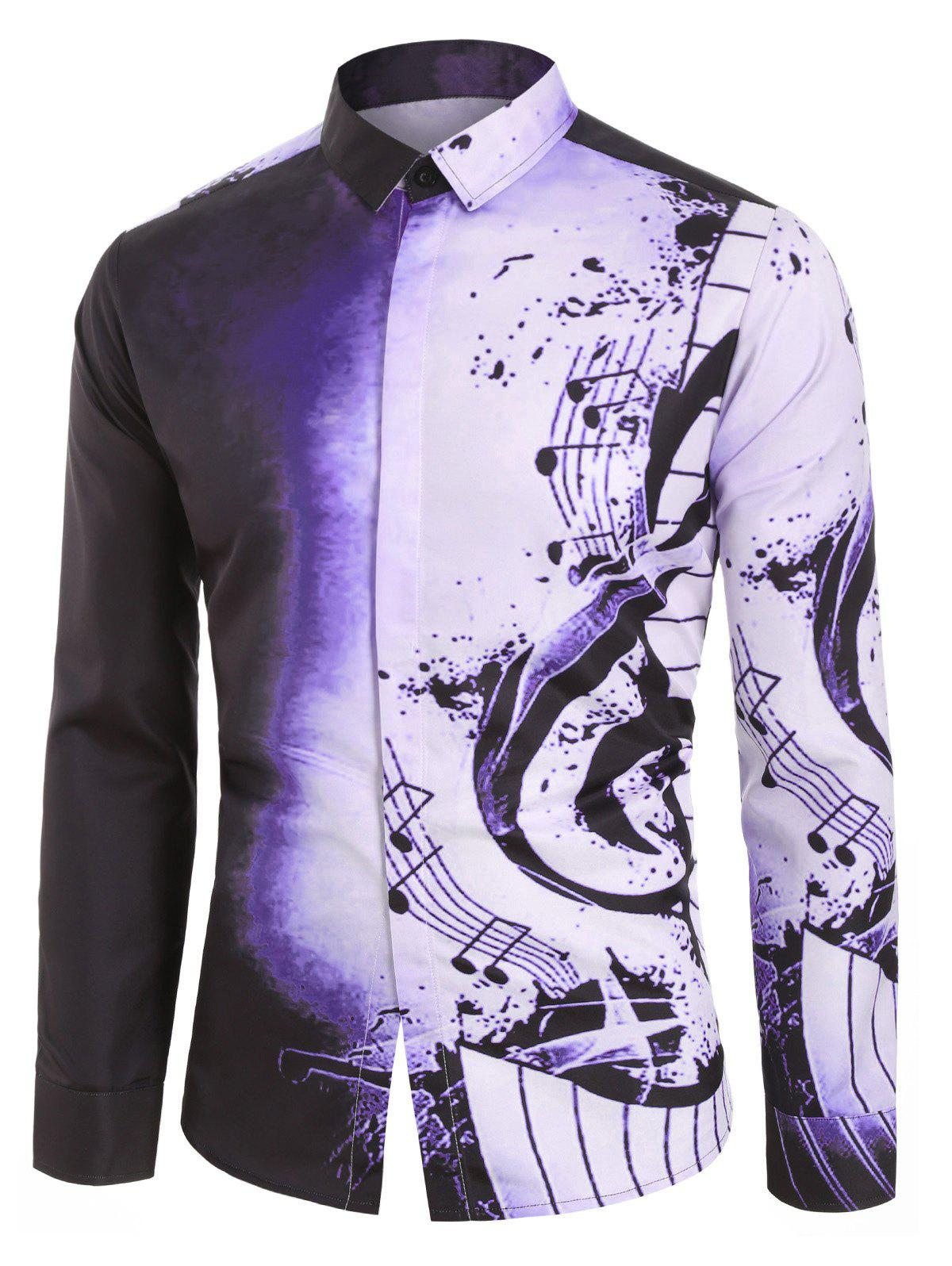 Musical Note Pattern Casual Long Sleeves Shirt - VIOLA PURPLE L