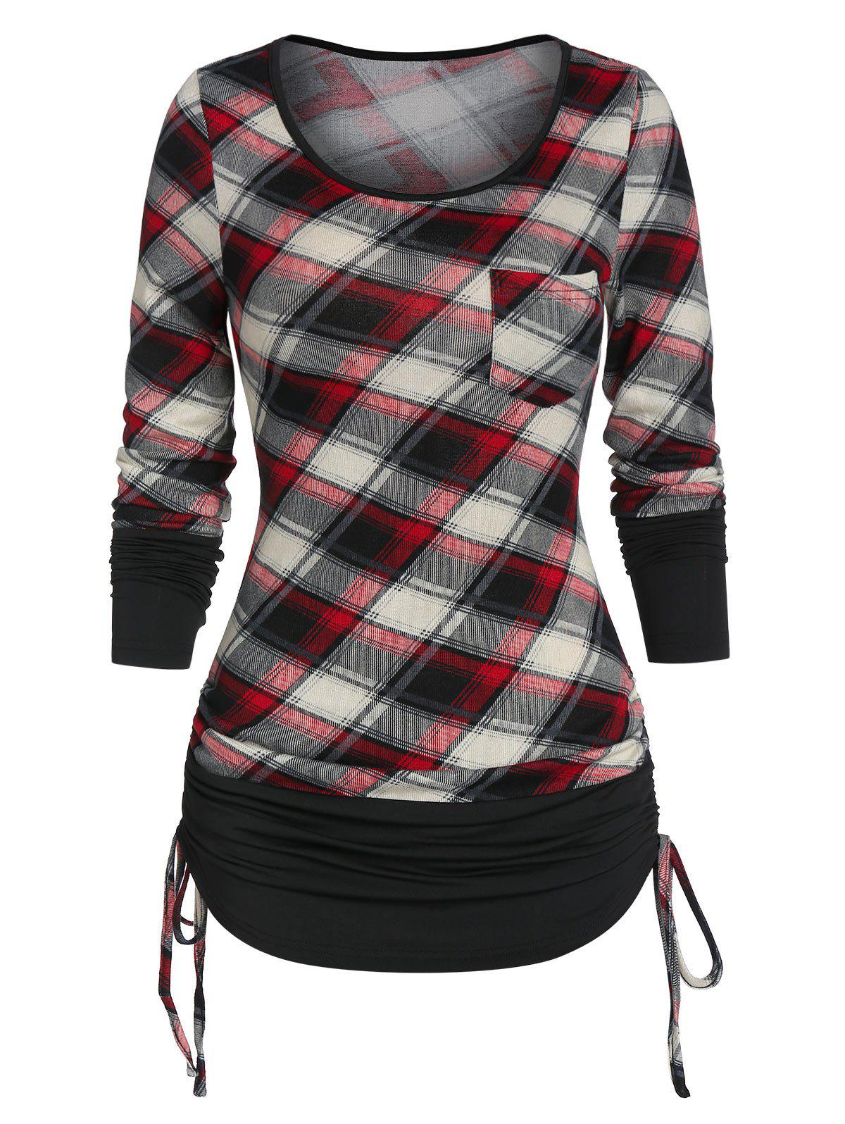 Checked Pocket Cinched T Shirt - RED WINE S