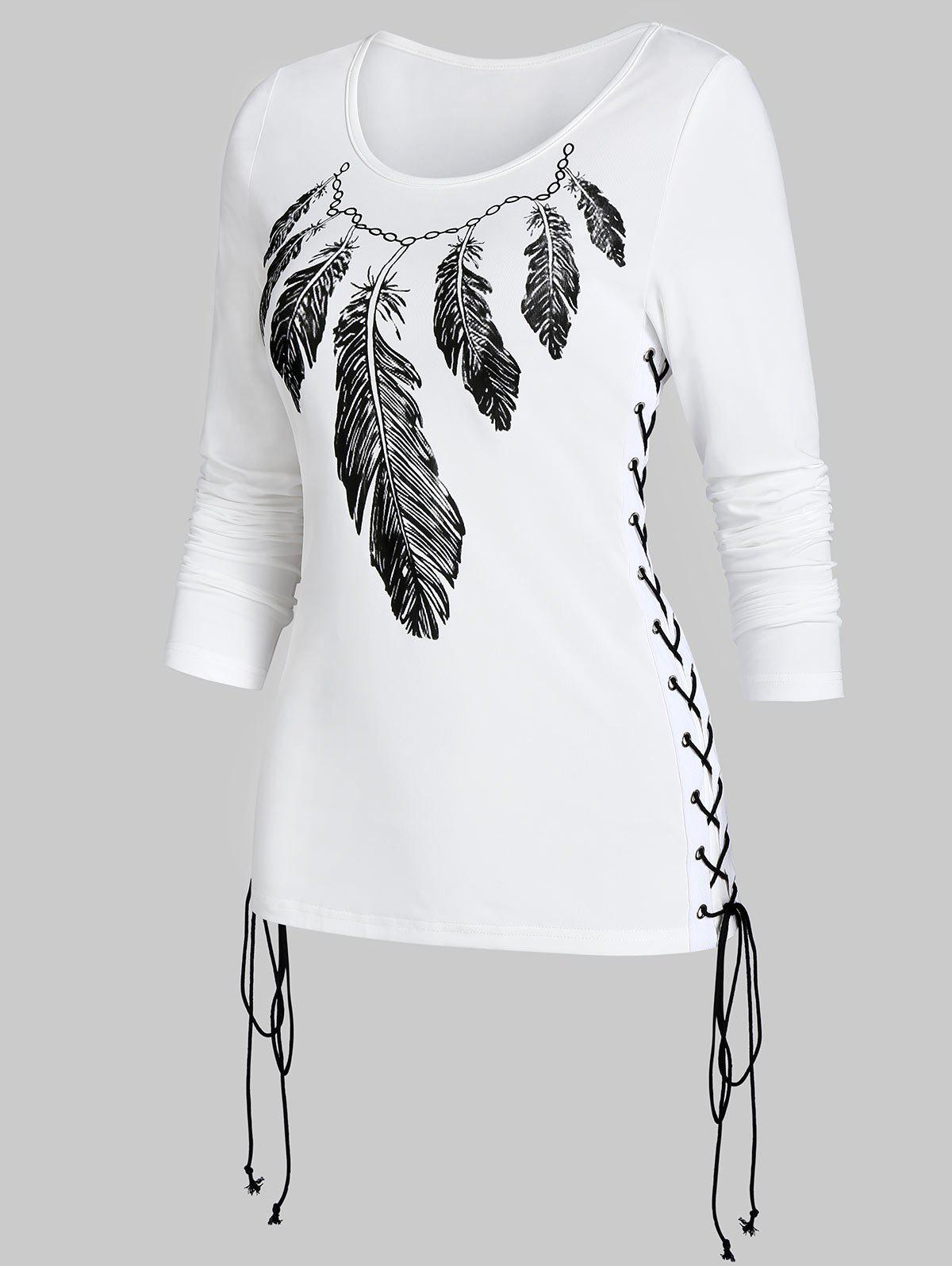 Round Collar Printed Lace Up T Shirt - WHITE XL