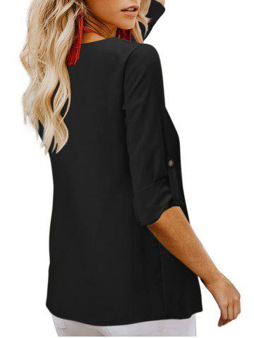 Plunging Button Up Roll Tab Blouse