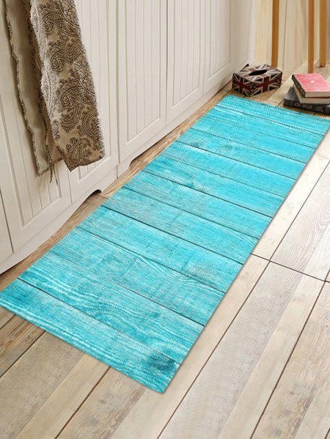 Solid Plank Pattern Print Flannel Floor Mat - multicolor L W16 X L47 INCH
