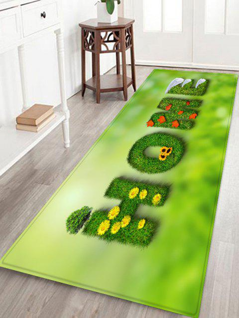 Grass Letter Home 3D Print Floor Rug - GREEN ONION W24 X L71 INCH